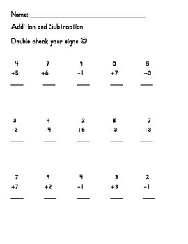 Simple Addition Subtraction Mix up