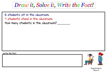 Simple Addition & Subtraction Story Problems SmartBoard lesson Set 3