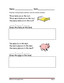 Simple Addition & Subtraction Word Problems for Beginner Readers Bundle