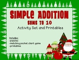 Simple Addition-Sums to 10: Activity Set & Printables-Christmas theme