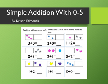 Simple Addition With 0-5 Workbook