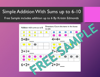 Simple Addition With Sums Up to 6-10 Workbook FREE SAMPLE