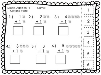 Simple Addition and Subtraction Cut and Paste w/Pictures
