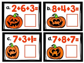 Simple Addition and Subtraction HALLOWEEN Math Centers (First and Second Grade)