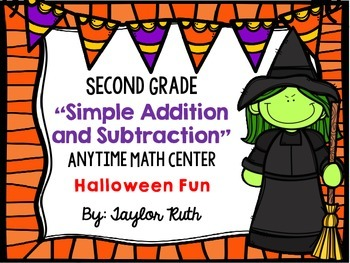 Simple Addition and Subtraction HALLOWEEN Math Centers (Fi