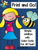 Simple Addition with Color by Number Code - A fun way to Add!  {Print and Go!}