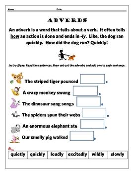 Simple Adverbs Cut & Paste - FREE