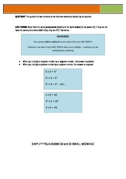 Simple Algebra Test (for lower year levels or differentiation)