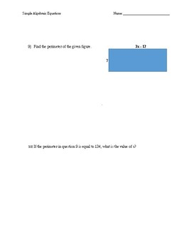 Simple Algebraic Equations Quiz