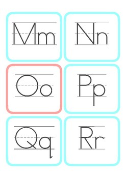 Simple Alphabet Cards — Upper Case, Lower Case, Lined, and Color Coded