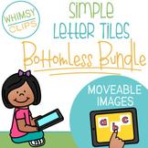 Simple Alphabet Letter Tiles Clip Art BOTTOMLESS Bundle - MOVEABLE Images