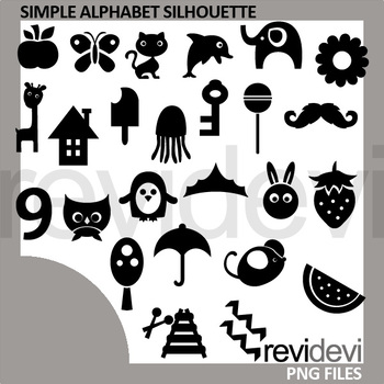 Simple Alphabet Silhouette Clipart Monogram A to Z Letters