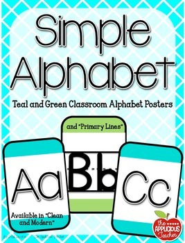 Simple Alphabet Teal and Green