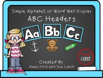 Simple Alphabet or ABC Word Wall Headers ONLY {Light Blue}