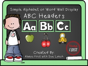 Simple Alphabet or ABC Word Wall Headers {Light Green}