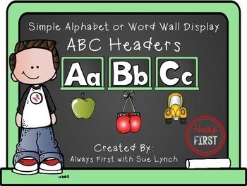 Simple Alphabet or ABC Word Wall Headers {Light Green}