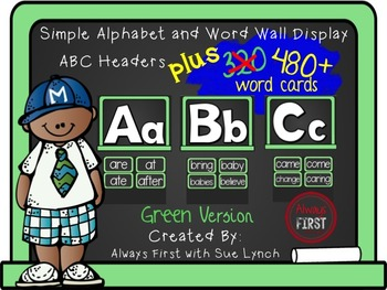 Simple Alphabet or ABC Word Wall Headers PLUS 480+ word cards {Green}