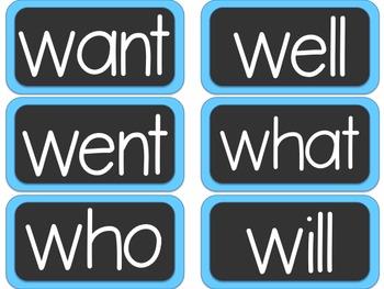 Simple Alphabet or ABC Word Wall Headers PLUS 480+ word cards {Light Blue}