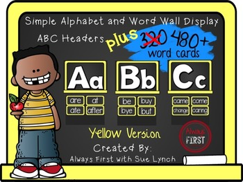 Simple Alphabet or ABC Word Wall Headers PLUS 480+ word cards {Yellow}