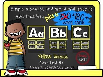 Simple Alphabet or ABC Word Wall Headers PLUS 480+ word ca
