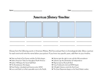Simple American History Timeline - QUIZ