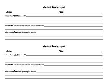Simple Artist Statement Form