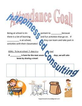 Simple Attendance Goals Sticker Chart