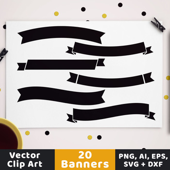 Simple Banners Clipart, Wedding Clipart, Party Banner SVG, Ribbon Divider DXF