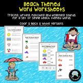 Simple Beach Words Worksheet Set - Tracing, Matching, Writing & Beginning Sounds
