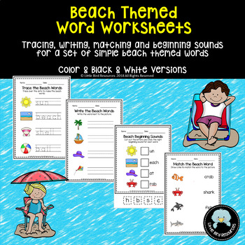 Simple Beach Words Worksheet Set - Tracing, Matching, Writing & Beginning Sounds