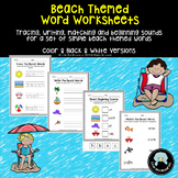 Simple Beach Words Worksheet Set - Tracing, Matching, Writ