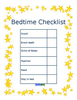 Simple Bedtime Checklist