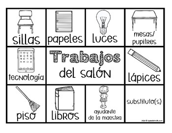 Simple Bilingual Classroom Job Chart (Spanish Trabajos del salon)