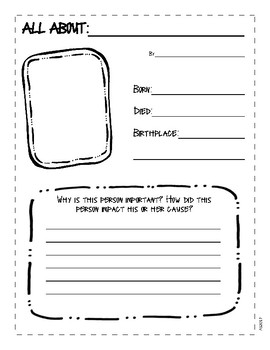 Selective image inside printable biography worksheets