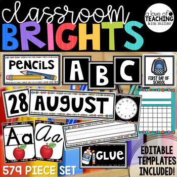 Classroom Decor - Simple Black & White BRIGHTS {Editable}