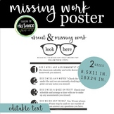 Simple Black and White Absent and Missing Work Poster