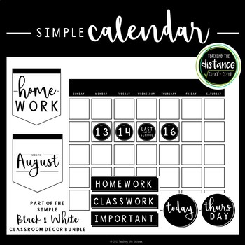 Simple Black and White Wall Calendar
