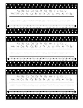 Simple Black and White Polka Dot Name Tags
