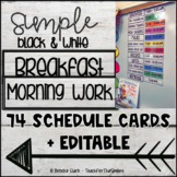 Simple Black and White Schedule Cards [White Wood]