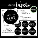 Simple Black and White Square Labels