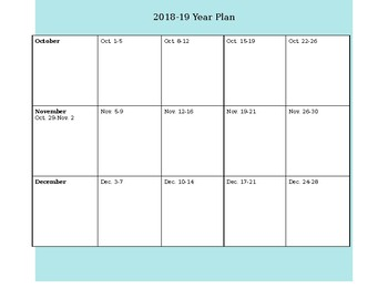 Simple Blank Yearly Planning Calendar For 2018 19 By Jsmithorprofe