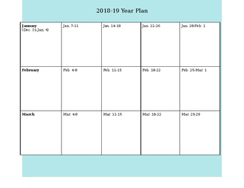 Simple Blank Yearly Planning Calendar for 2018-19
