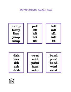 Simple Blends Phonics Reading Cards