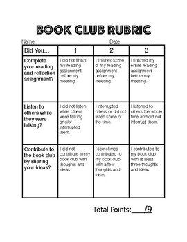Simple Book Club Rubric