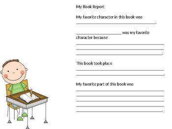 Simple Book Report for Kindergarten, 1st, 2nd & 3rd grades