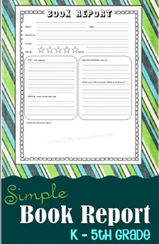 Simple Book Report for Kindergarten - 5th Grade