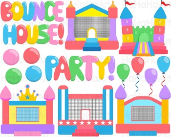 Simple Bounce House Party  Clip Art Digital Files Personal Commercial Use cod264
