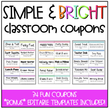 Simple & Bright Classroom Coupons (includes editable coupons!)