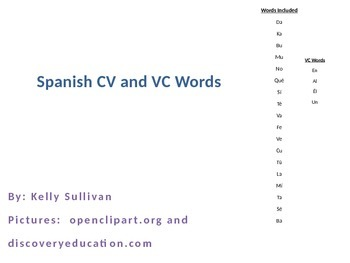 CV and VC Spanish Words