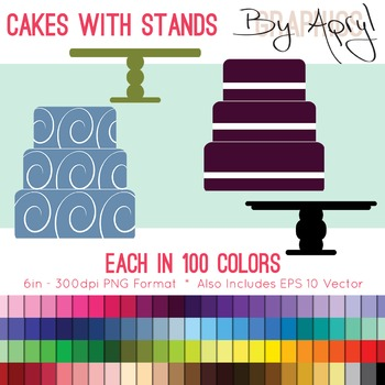 Simple Cakes and Stands Clip Art in 100 Colors PNG and Vector EPS Commercial Use